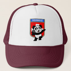 Trucker Hat with Swiss Shot Put Panda design