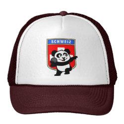 Trucker Hat with Swiss Shot Put Panda design