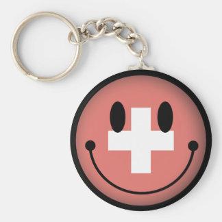 Switzerland Smiley Basic Round Button Keychain