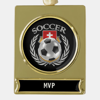 Switzerland Soccer 2016 Fan Gear Gold Plated Banner Ornament