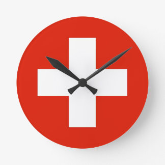 switzerland swiss country flag clock
