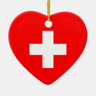 Switzerland - Swiss Flag Ceramic Ornament