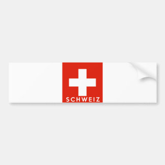Switzerland Swiss flag country schweiz text name Bumper Sticker