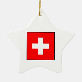 Switzerland - Swiss Flag Christmas Tree Ornaments