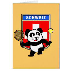 Swiss Tennis Panda Greeting Card