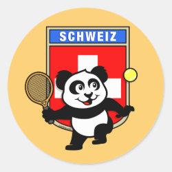 Round Sticker with Swiss Tennis Panda design