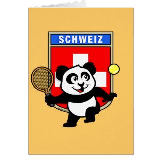 Switzerland Tennis Panda Greeting Card