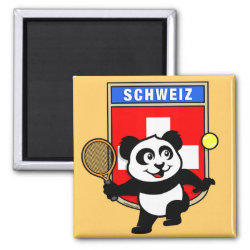 Square Magnet with Swiss Tennis Panda design