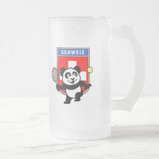 Switzerland Tennis Panda 16 Oz Frosted Glass Beer Mug