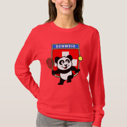 Women's Basic Long Sleeve T-Shirt with Swiss Tennis Panda design