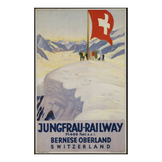 Switzerland Trains Vintage Travel Poster Ad Retro
