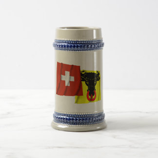 Switzerland & Uri Waving Flags Beer Stein