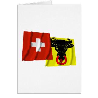 Switzerland & Uri Waving Flags Card