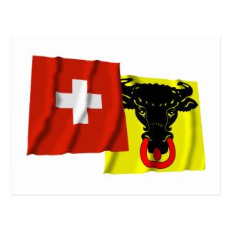 Switzerland & Uri Waving Flags Postcard