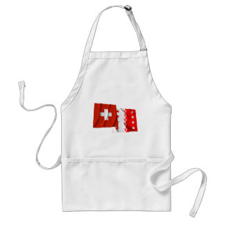 Switzerland & Valais Waving Flags Adult Apron