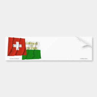 Switzerland & Vaud Waving Flags Bumper Stickers