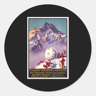 Switzerland Villars Chesieres Arveyes Classic Round Sticker