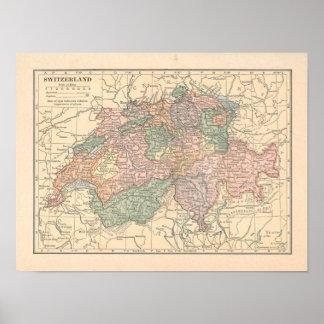 Switzerland Vintage 1923 Map Poster