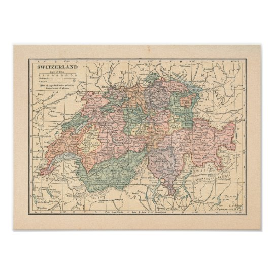 Switzerland Vintage 1923 Map Poster