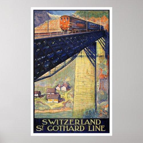 Switzerland Vintage Travel Poster Restored