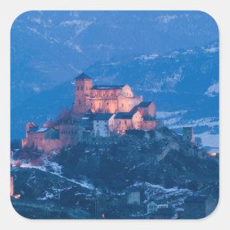SWITZERLAND, Wallis/Valais, SION: Basilique de Square Sticker