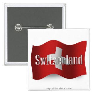 Switzerland Waving Flag 2 Inch Square Button