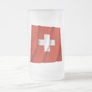 Switzerland Waving Flag Frosted Glass Beer Mug