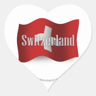 Switzerland Waving Flag Heart Sticker