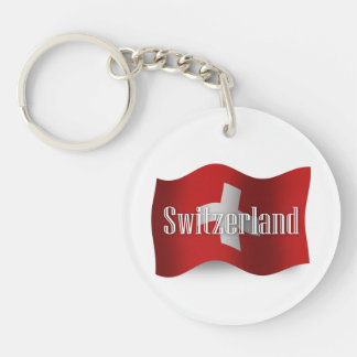 Switzerland Waving Flag Double-Sided Round Acrylic Keychain