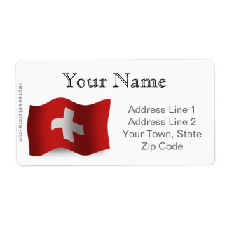 Switzerland Waving Flag Label