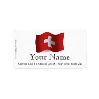 Switzerland Waving Flag Address Label