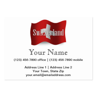 Switzerland Waving Flag Large Business Card