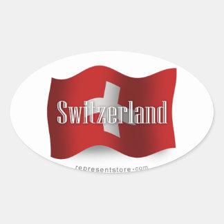Switzerland Waving Flag Oval Sticker