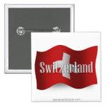 Switzerland Waving Flag Pinback Button