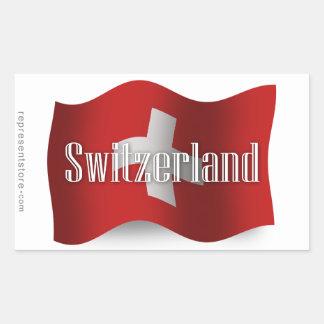 Switzerland Waving Flag Rectangular Sticker