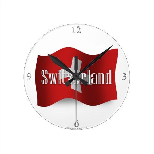 Switzerland Waving Flag Round Wall Clock