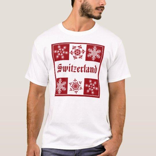 Switzerland Winter Wonderland Red White Snowflake T-Shirt