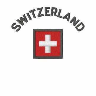Switzerland Zip Hoodie With Swiss Pocket Flag