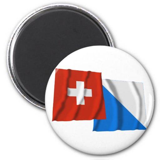 Switzerland & Zurich Waving Flags 2 Inch Round Magnet