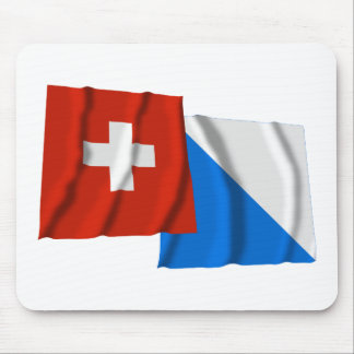 Switzerland & Zurich Waving Flags Mouse Pad