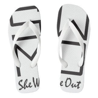 SWMO: SHE WEARS ME OUT-Stylish Black-n-White Flops Flip Flops