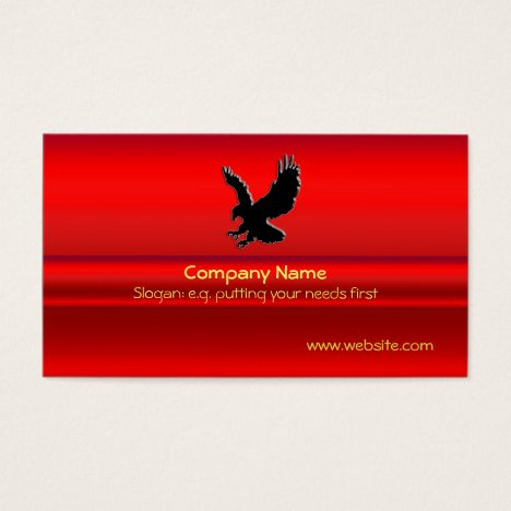 Swooping Black Eagle on red chrome-look effect Business Card