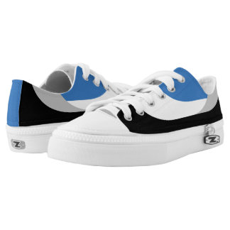 Swooping Lines Low Top Sneakers - Blue Printed Shoes