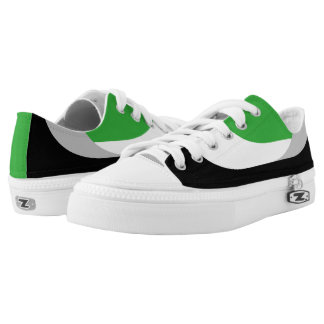 Swooping Lines Low Top Sneakers - Green Printed Shoes
