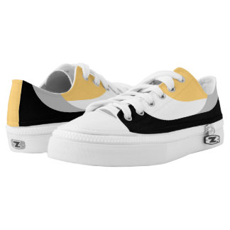Swooping Lines Low Top Sneakers - Yellow Printed Shoes