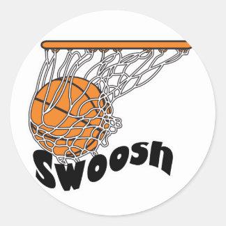 swoosh basketball classic round sticker
