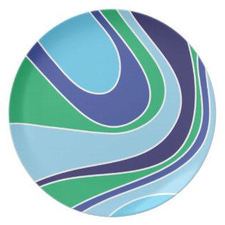 Swoosh Blue Melamine Plate
