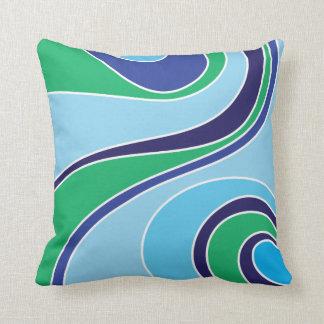 Swoosh Blue Throw Pillow