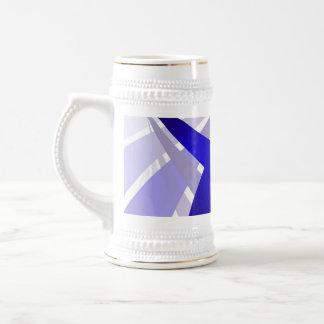 Swooshes abstractos azules jarra de cerveza