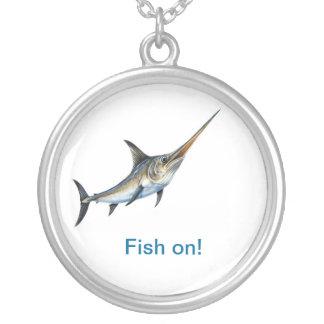 Sword Fish Fish On Neckalce Round Pendant Necklace